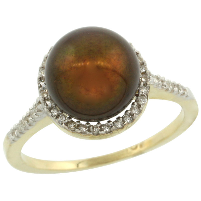 14k Gold Halo Engagement 8.5 mm Brown Pearl Ring w/ 0.146 Carat Brilliant Cut Diamonds, 7/16 in. (11mm) wide