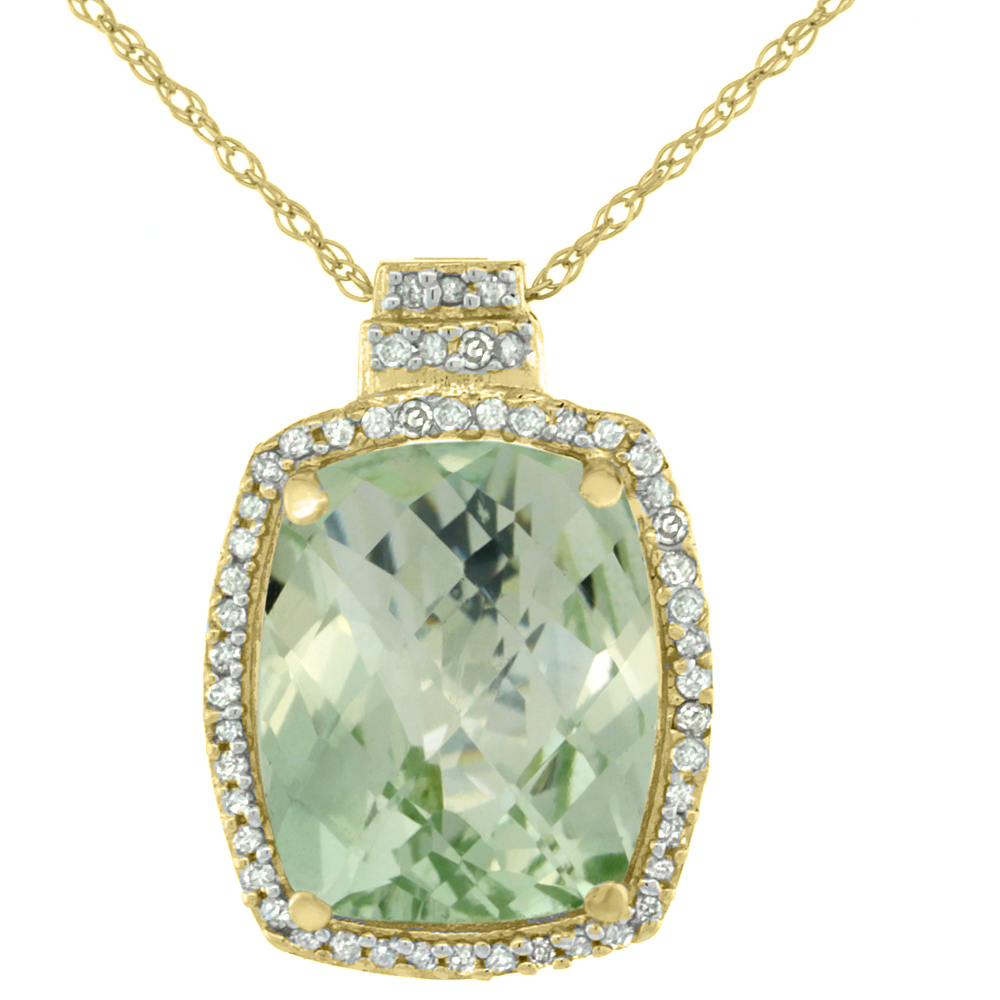 10K Yellow Gold Diamond Natural Green Amethyst Pendant Octagon Cushion 11x9 mm