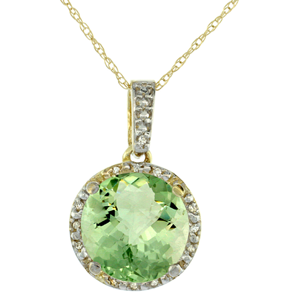 10K Yellow Gold Natural Green Amethyst Pendant Round 11x11 mm & Diamond Accents