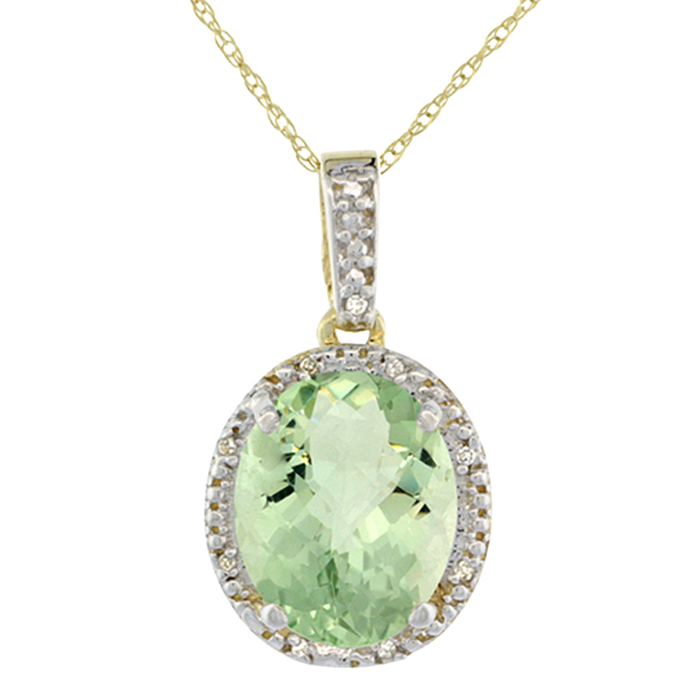 10K Yellow Gold Diamond Natural Green Amethyst Pendant Oval 12x10 mm