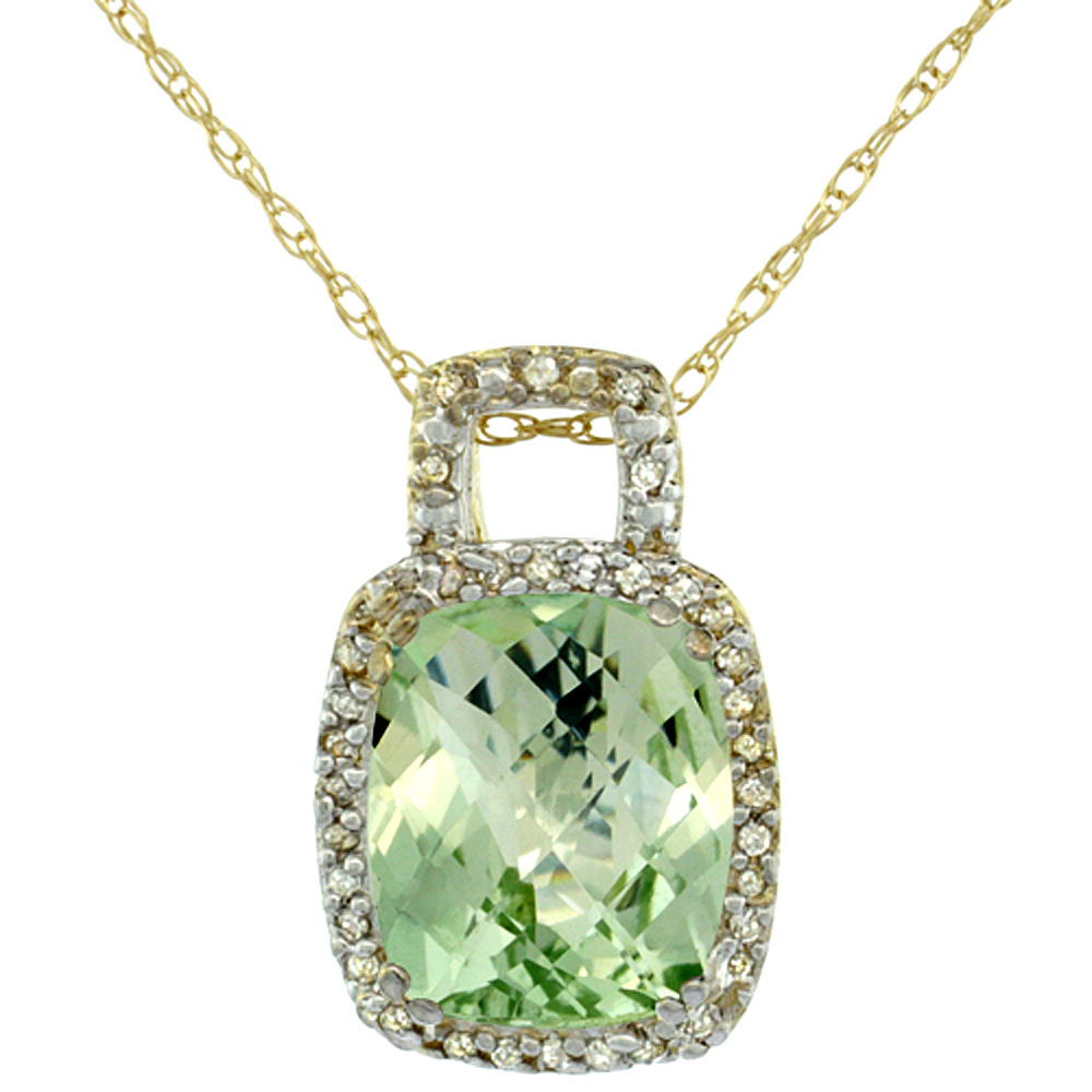 10K Yellow Gold Natural Green Amethyst Pendant Octagon Cushion 10x8 mm & Diamond Accents