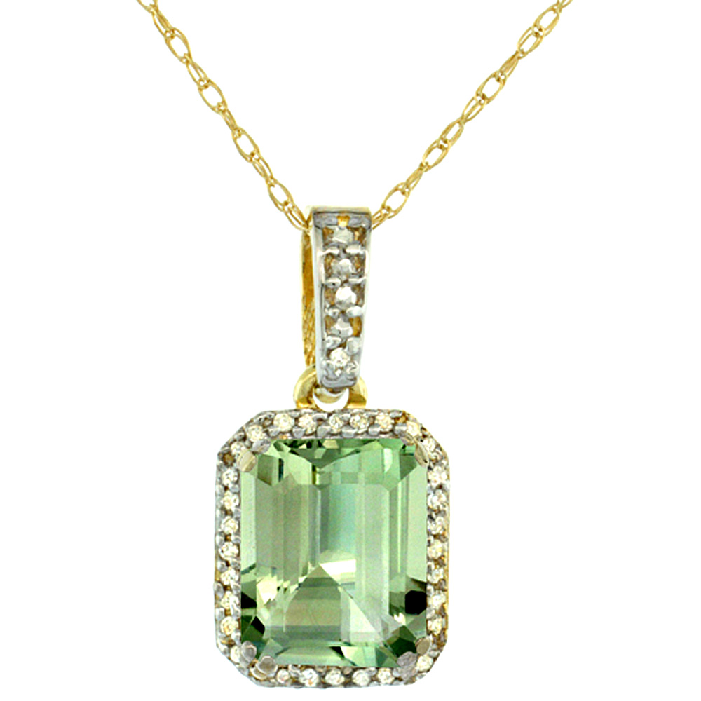 10K Yellow Gold Diamond Natural Green Amethyst Pendant Octagon 9x7 mm