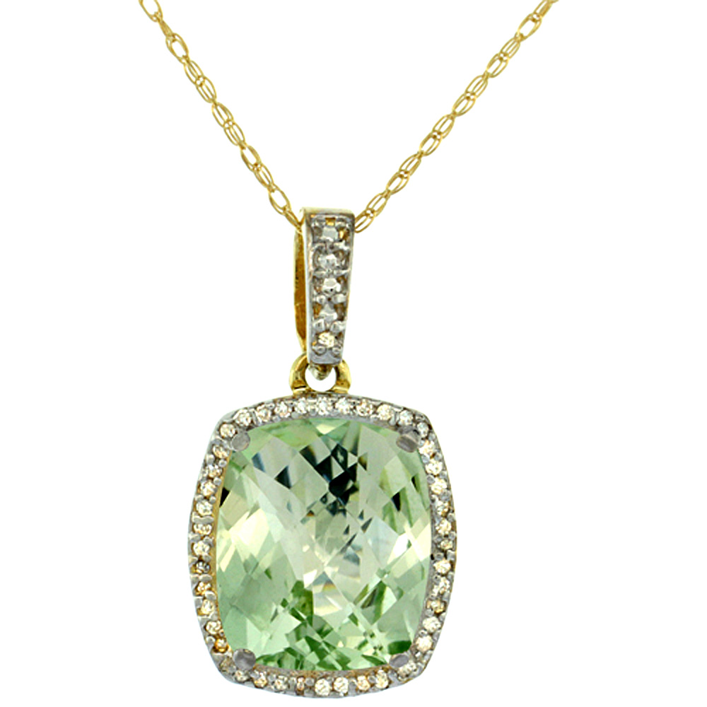 10K Yellow Gold Natural Green Amethyst Pendant Octagon Cushion 12x10 mm