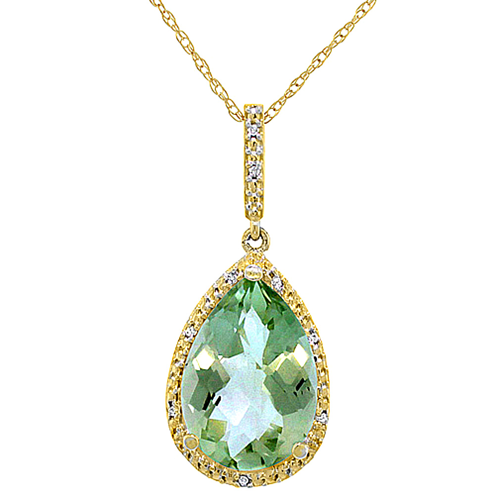 10K Yellow Gold Diamond Natural Green Amethyst Pendant Pear Shape 15x10 mm