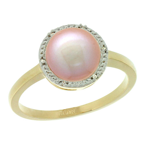 14k Gold Halo Engagement 8.5 mm Pink Pearl Ring w/ 0.022 Carat Brilliant Cut Diamonds, 7/16 in. (11mm) wide