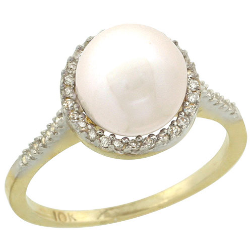 10k Gold Halo Engagement 8.5 mm White Pearl Ring w/ 0.146 Carat Brilliant Cut Diamonds, 7/16 in. (11mm) wide