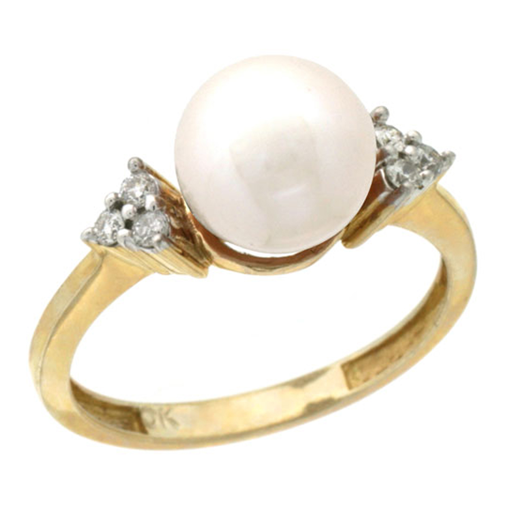 14k Gold 8.5 mm White Pearl Ring w/ 0.105 Carat Brilliant Cut Diamonds, 7/16 in. (11mm) wide