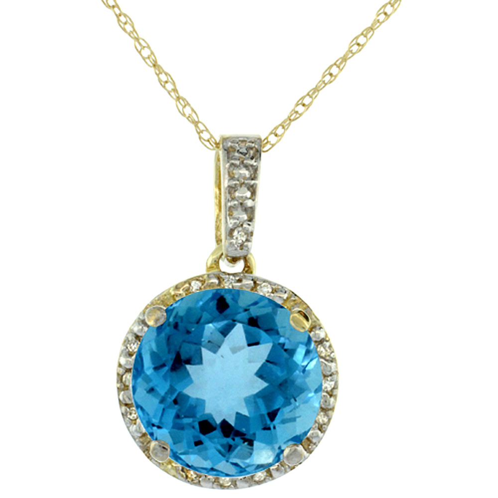 10K Yellow Gold Natural Swiss Blue Topaz Pendant Round 11x11 mm & Diamond Accents