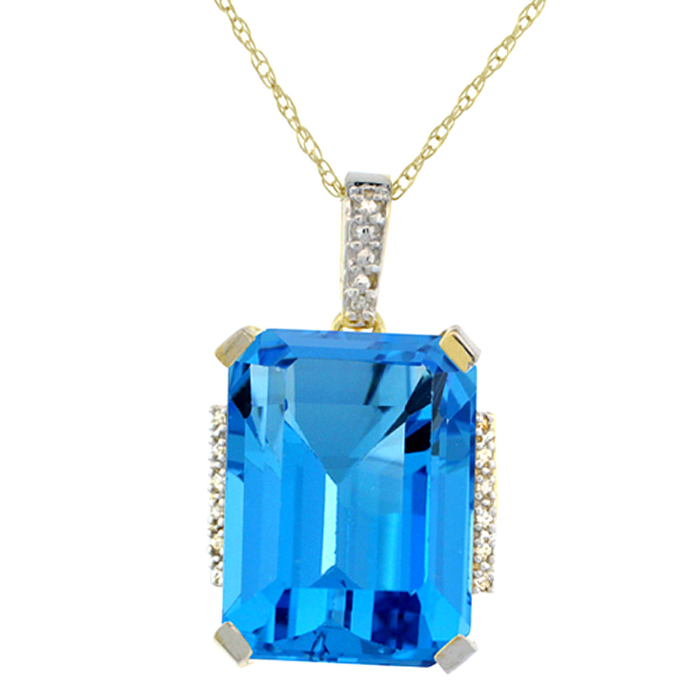 10K Yellow Gold Natural Swiss Blue Topaz Pendant Octagon 16x12 mm & Diamond Accents