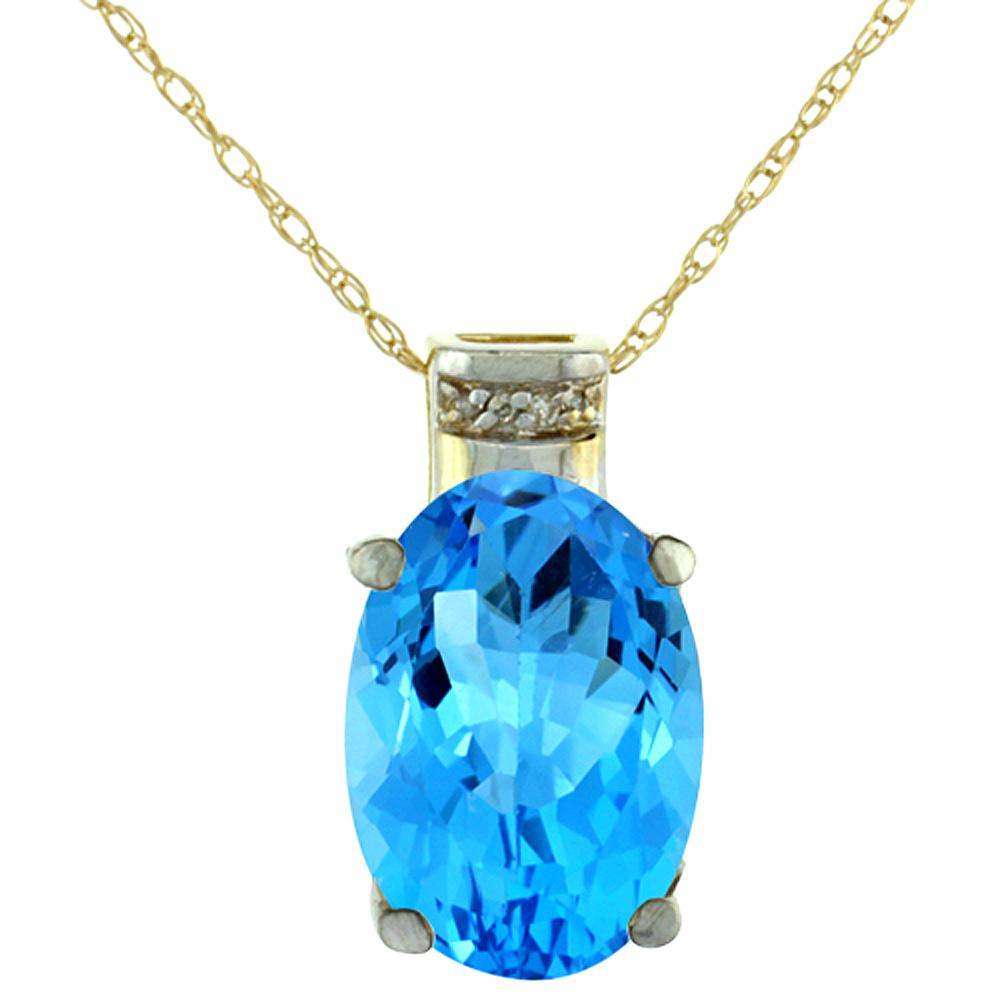 10K Yellow Gold Diamond Natural Swiss Blue Topaz Pendant Oval 14x10 mm