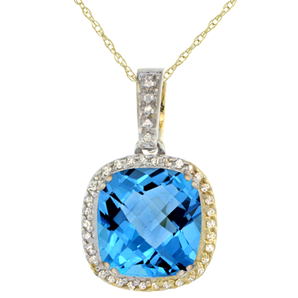 10K Yellow Gold Natural Swiss Blue Topaz Pendant Cushion 10x10 mm & Diamond Accents