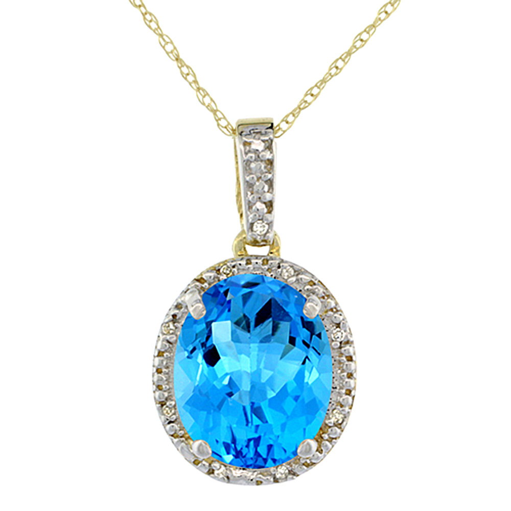 10K Yellow Gold Diamond Halo Natural Swiss Blue Topaz Necklace Oval 12x10 mm, 18 inch long