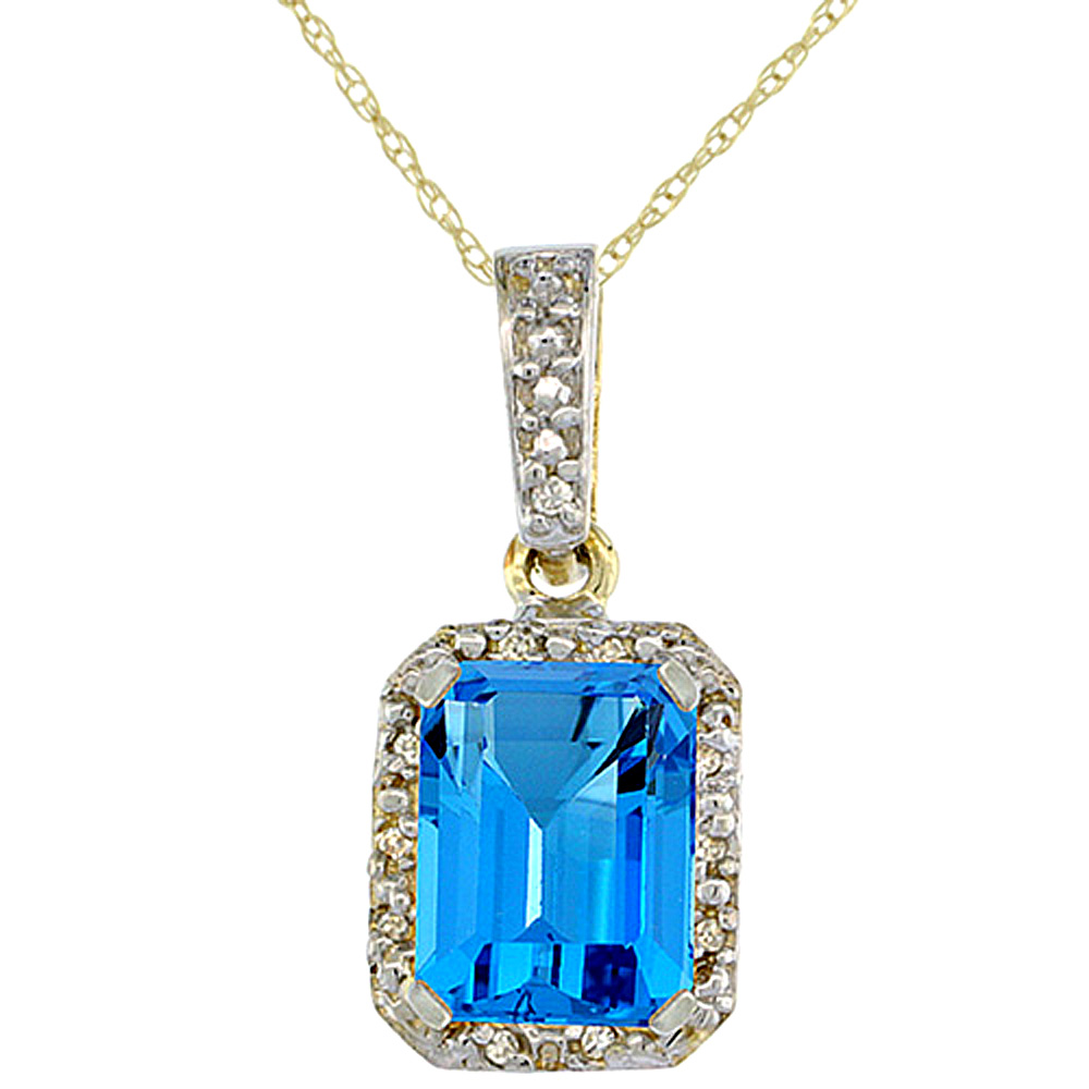 10K Yellow Gold Natural Swiss Blue Topaz Pendant Octagon 8x6 mm & Diamond Accents