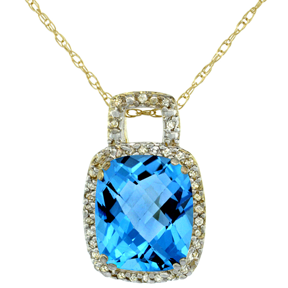 10K Yellow Gold Natural Swiss Blue Topaz Pendant Octagon Cushion 10x8 mm & Diamond Accents