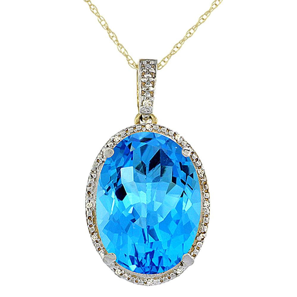 10K Yellow Gold Diamond Natural Swiss Blue Topaz Pendant Oval 18x13 mm