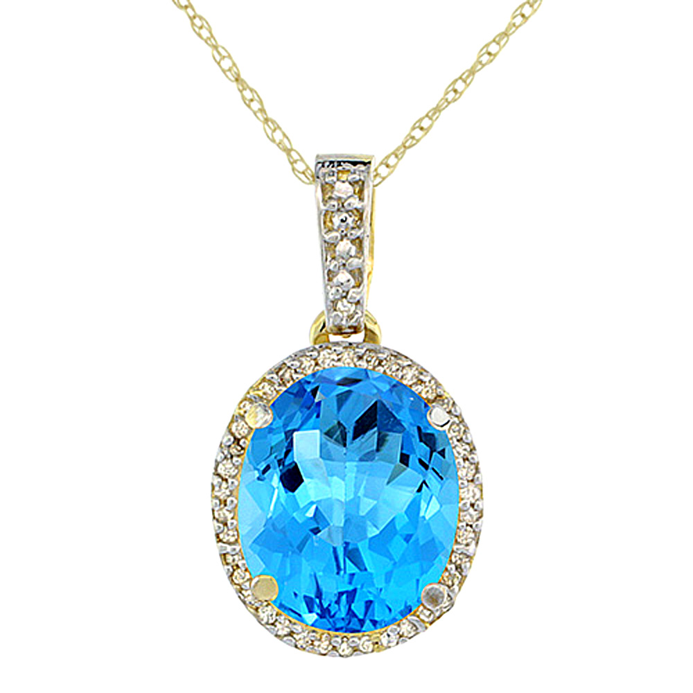 10K Yellow Gold Natural Swiss Blue Topaz Pendant Oval 11x9 mm