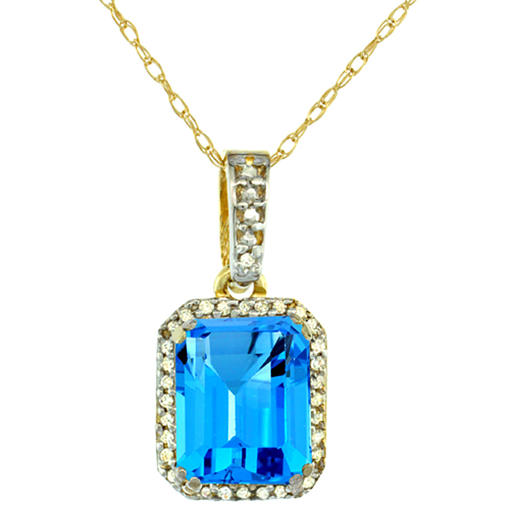 10K Yellow Gold Diamond Natural Swiss Blue Topaz Pendant Octagon 9x7 mm