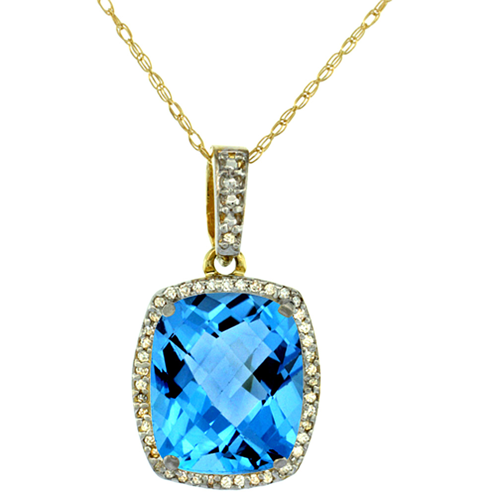 10K Yellow Gold Natural Swiss Blue Topaz Pendant Octagon Cushion 12x10 mm
