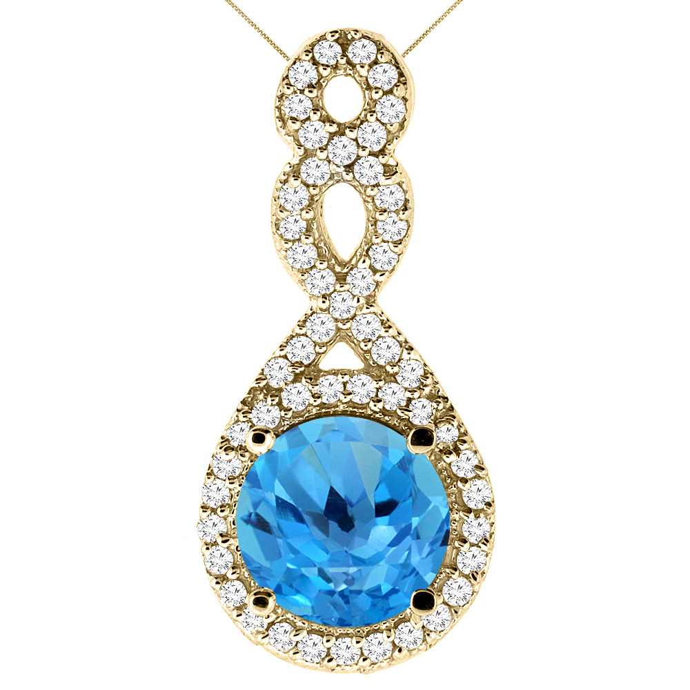 10K Yellow Gold Natural Swiss Blue Topaz Eternity Pendant Round 7x7mm with 18 inch Gold Chain