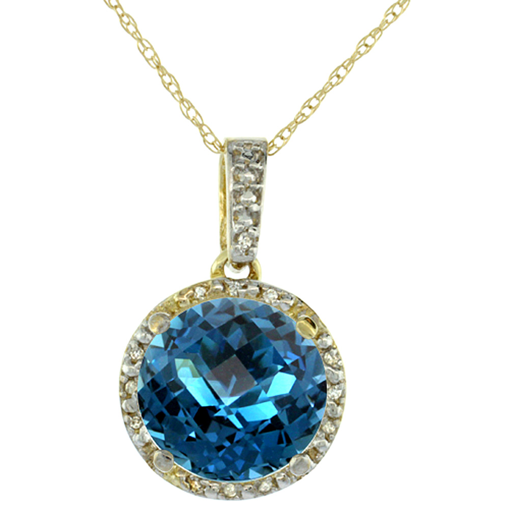 10K Yellow Gold Natural London Blue Topaz Pendant Round 11x11 mm & Diamond Accents