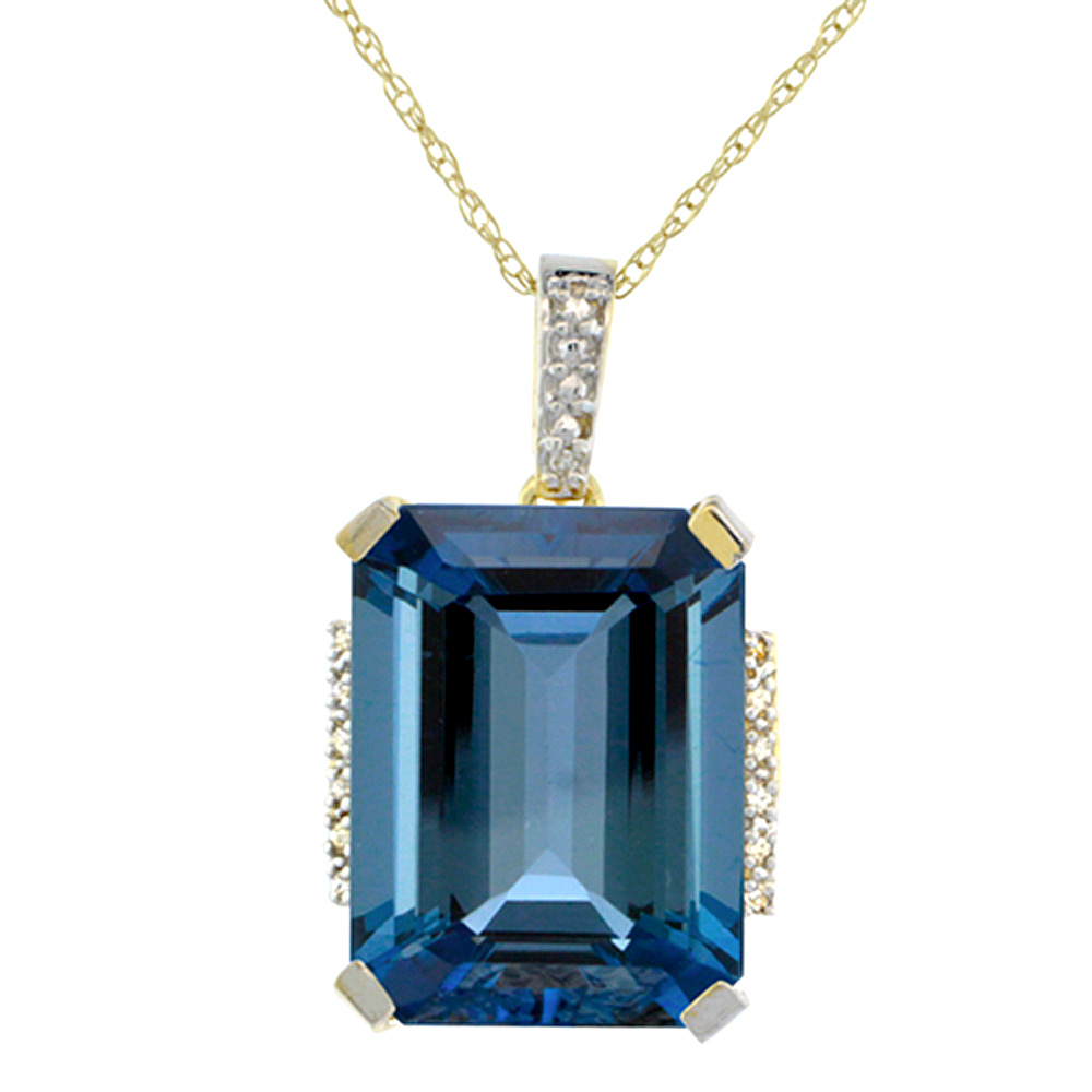 10K Yellow Gold Natural London Blue Topaz Pendant Octagon 16x12 mm & Diamond Accents