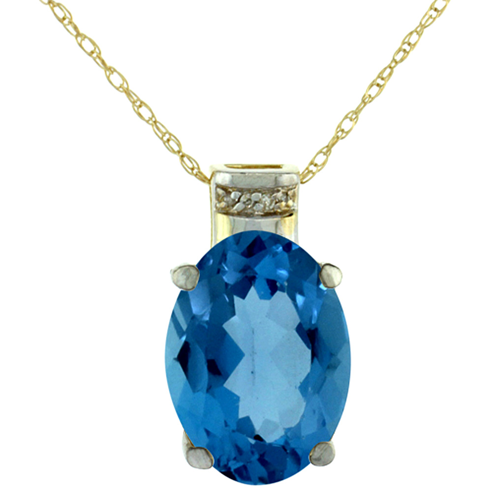 10K Yellow Gold Diamond Natural London Blue Topaz Pendant Oval 14x10 mm