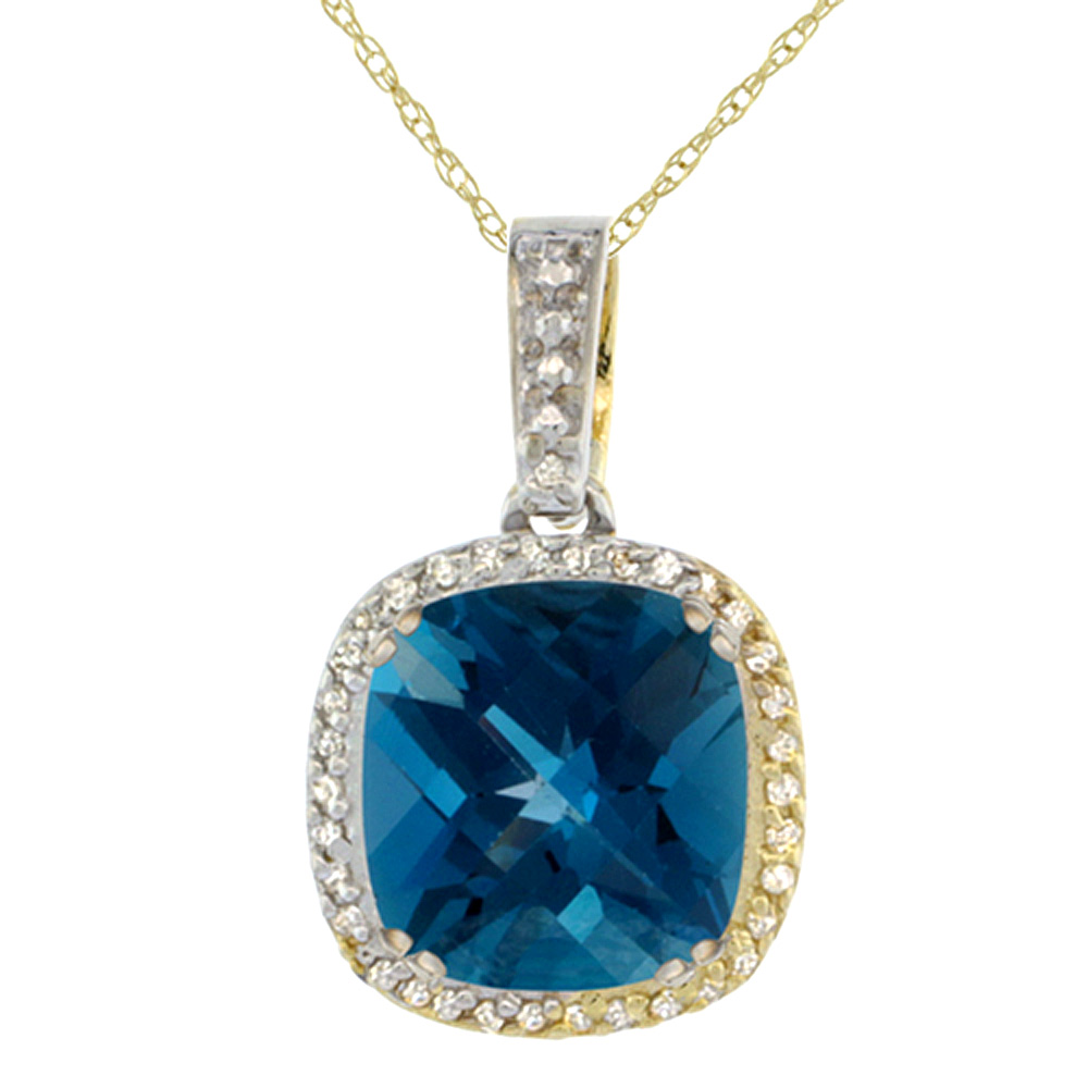 10K Yellow Gold Natural London Blue Topaz Pendant Cushion 10x10 mm & Diamond Accents