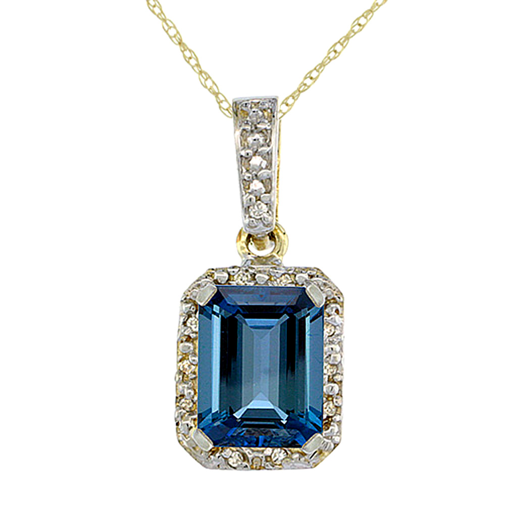 10K Yellow Gold Natural London Blue Topaz Pendant Octagon 8x6 mm & Diamond Accents