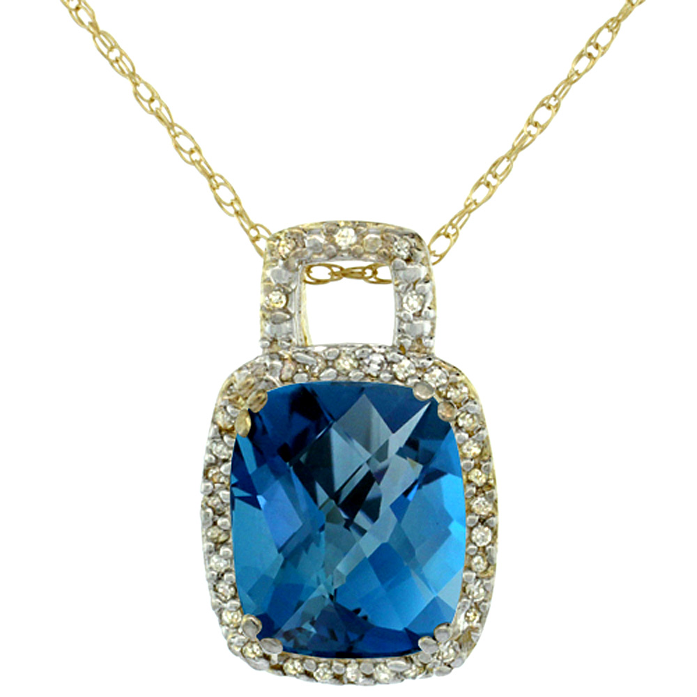 10K Yellow Gold Natural London Blue Topaz Pendant Octagon Cushion 10x8 mm & Diamond Accents