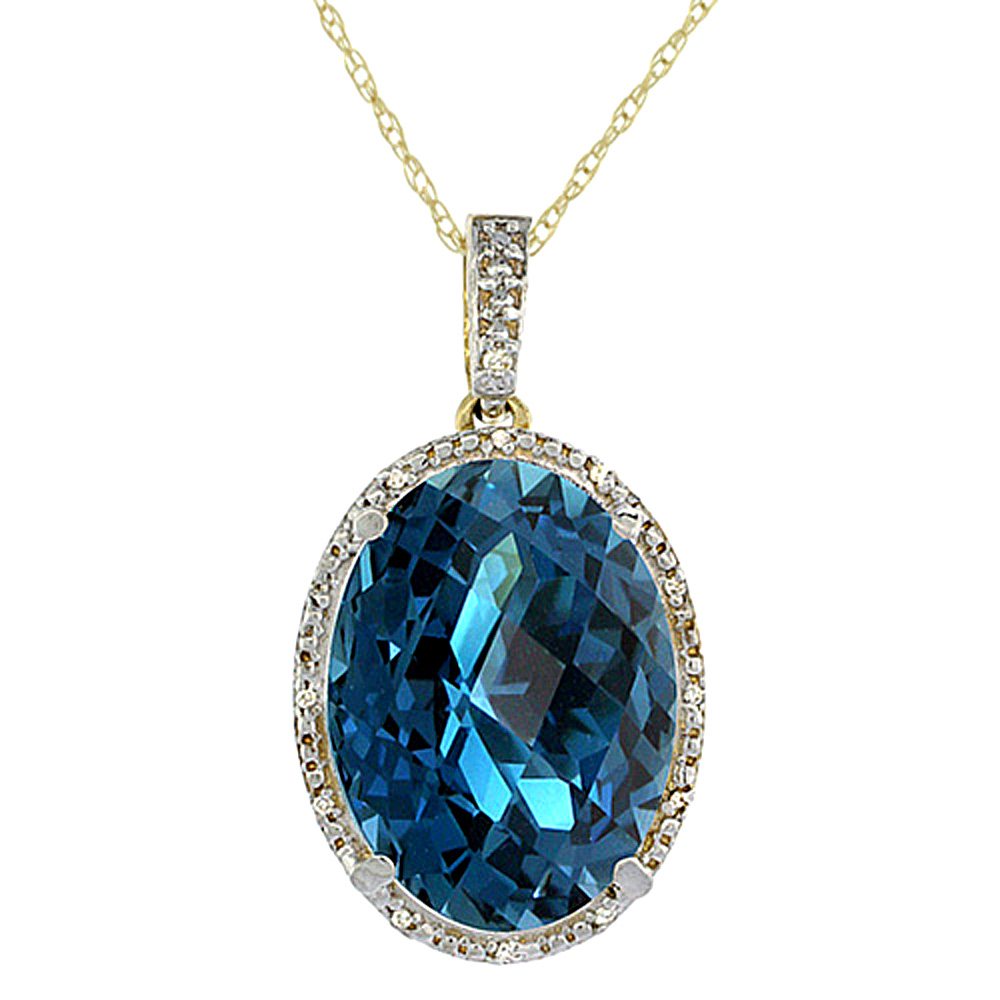 10K Yellow Gold Diamond Natural London Blue Topaz Pendant Oval 18x13 mm