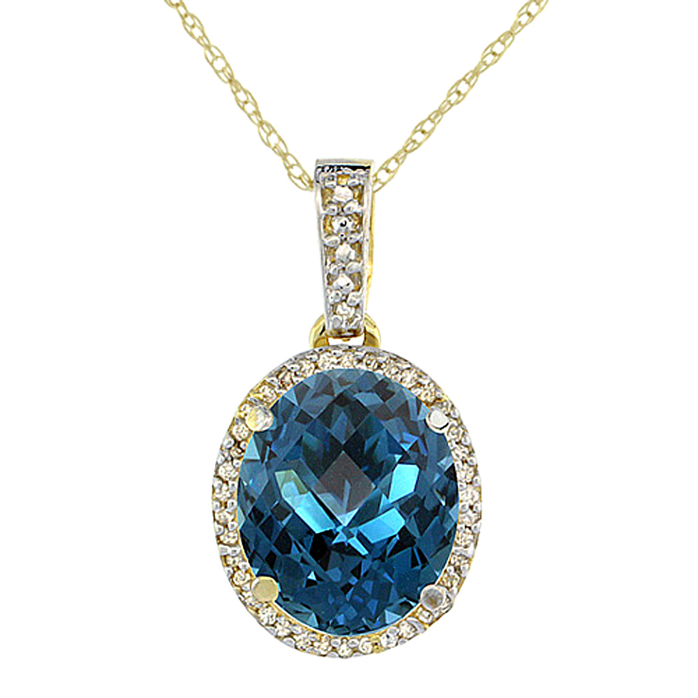 10K Yellow Gold Natural London Blue Topaz Pendant Oval 11x9 mm