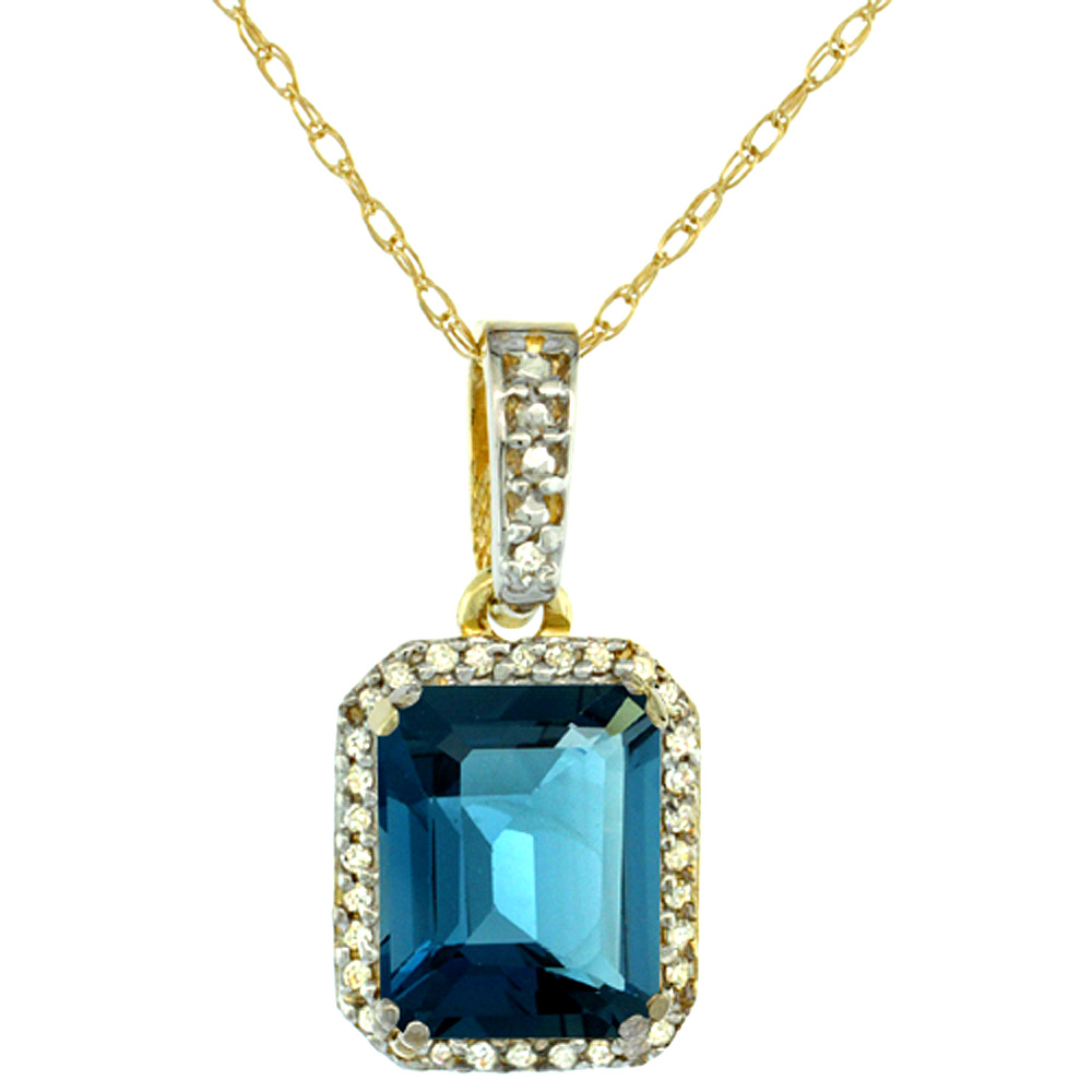 10K Yellow Gold Diamond Natural London Blue Topaz Pendant Octagon 9x7 mm