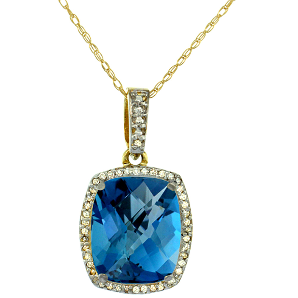10K Yellow Gold Natural London Blue Topaz Pendant Octagon Cushion 12x10 mm
