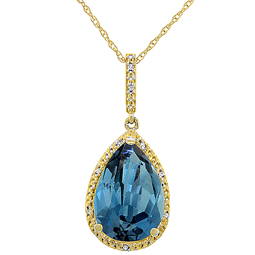10K Yellow Gold Diamond Natural London Blue Topaz Pendant Pear Shape 15x10 mm