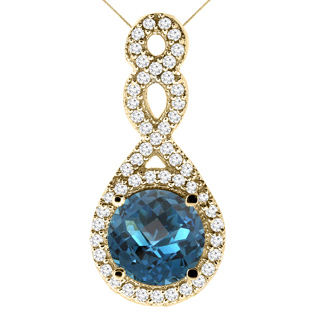 10K Yellow Gold Natural London Blue Topaz Eternity Pendant Round 7x7mm with 18 inch Gold Chain