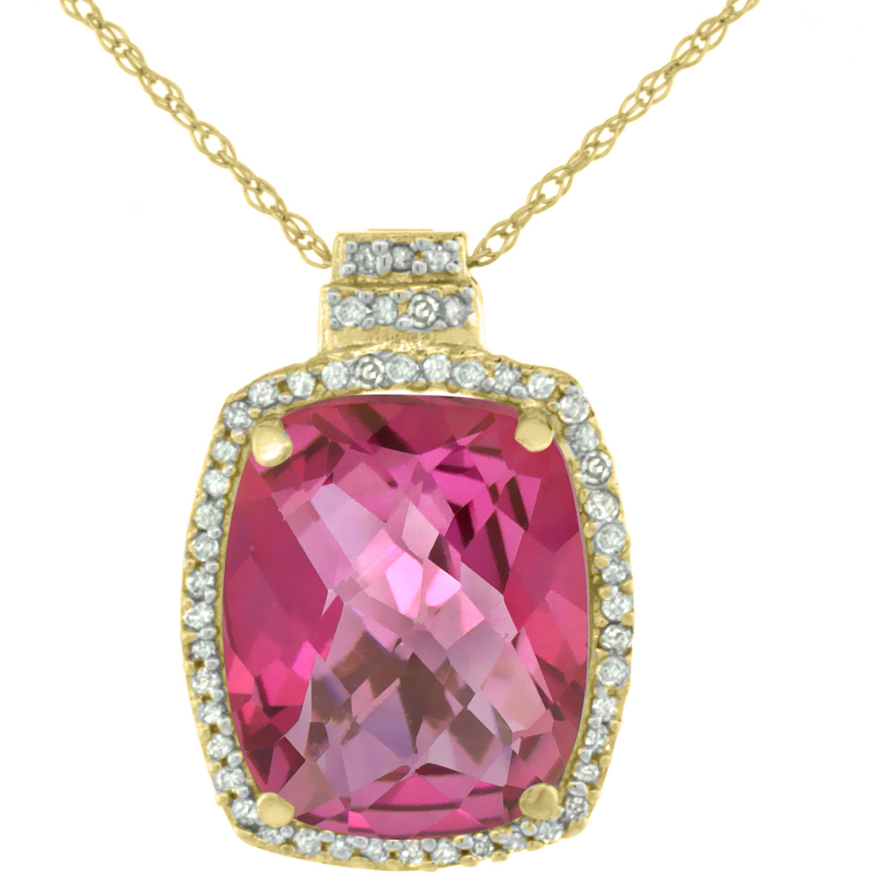 10K Yellow Gold Diamond Natural Pink Topaz Pendant Octagon Cushion 11x9 mm