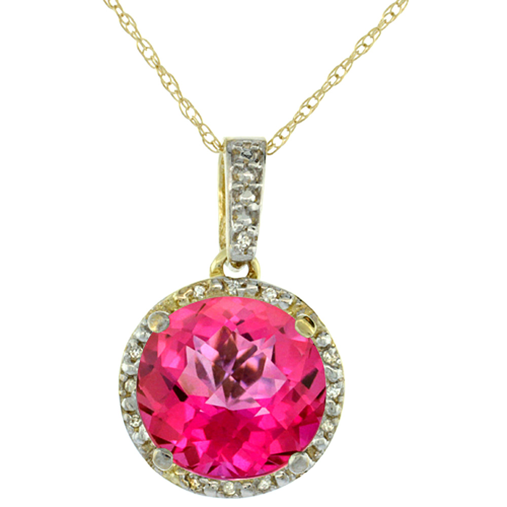 10K Yellow Gold Natural Pink Topaz Pendant Round 11x11 mm & Diamond Accents
