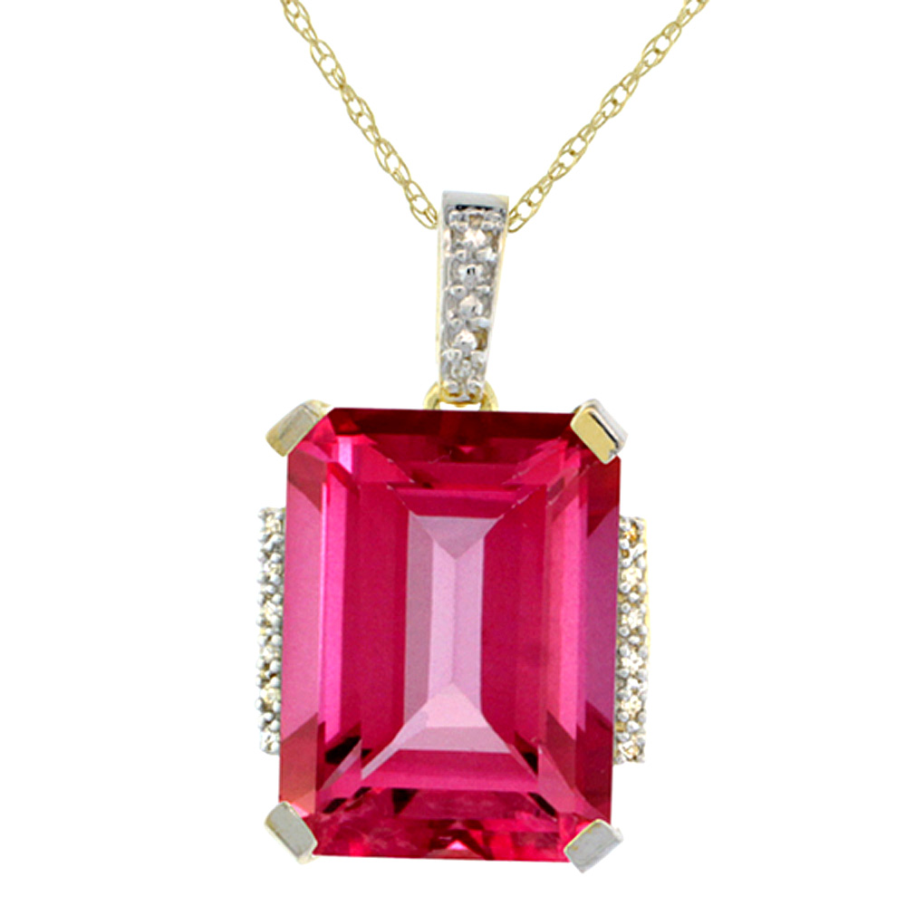 10K Yellow Gold Natural Pink Topaz Pendant Octagon 16x12 mm & Diamond Accents