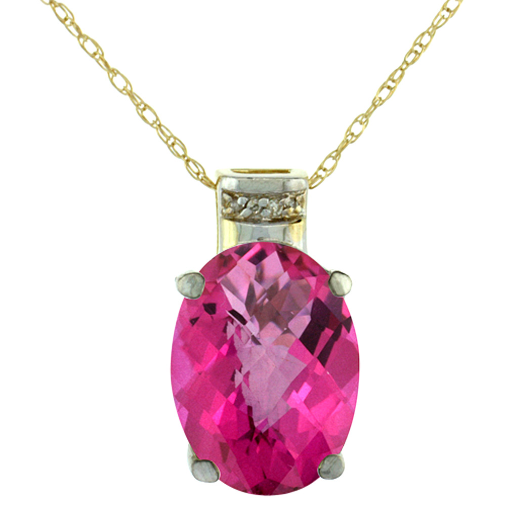 10K Yellow Gold Diamond Natural Pink Topaz Pendant Oval 14x10 mm