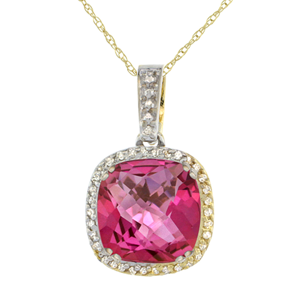 10K Yellow Gold Natural Pink Topaz Pendant Cushion 10x10 mm & Diamond Accents