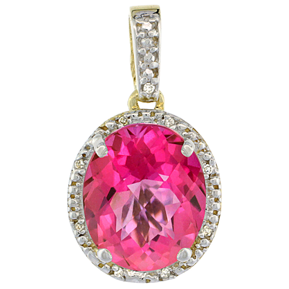 10K Yellow Gold Diamond Natural Pink Topaz Pendant Oval 12x10 mm