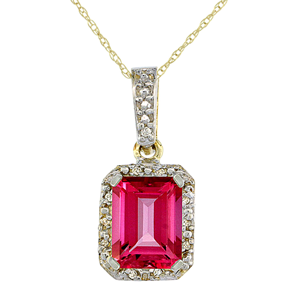 10K Yellow Gold Natural Pink Topaz Pendant Octagon 8x6 mm & Diamond Accents
