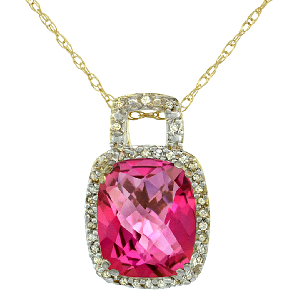 10K Yellow Gold Natural Pink Topaz Pendant Octagon Cushion 10x8 mm & Diamond Accents