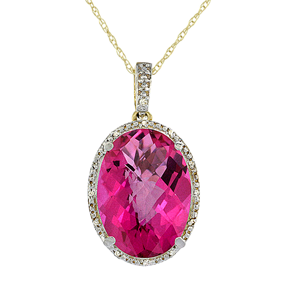 10K Yellow Gold Diamond Natural Pink Topaz Pendant Oval 18x13 mm