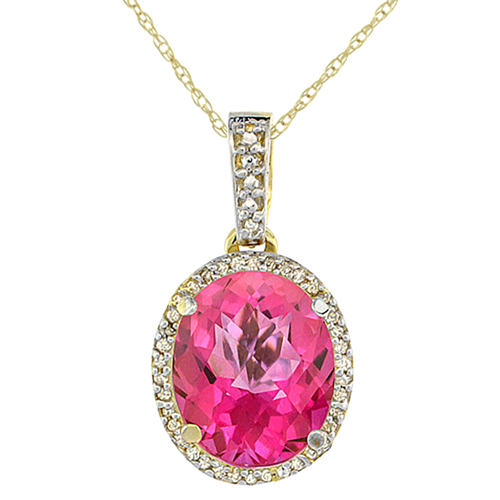 10K Yellow Gold Natural Pink Topaz Pendant Oval 11x9 mm