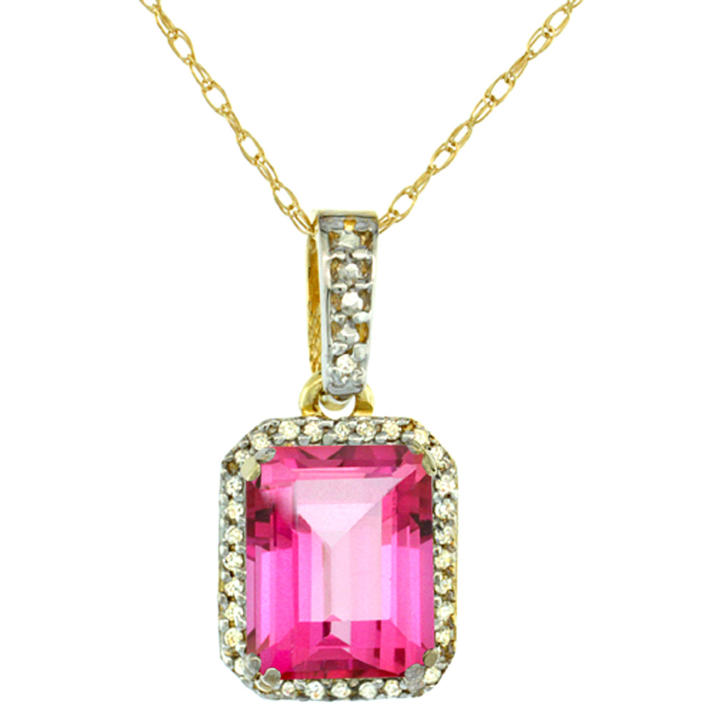 10K Yellow Gold Diamond Natural Pink Topaz Pendant Octagon 9x7 mm