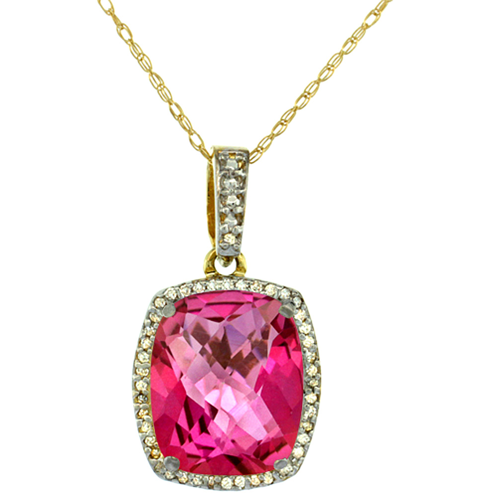 10K Yellow Gold Natural Pink Topaz Pendant Octagon Cushion 12x10 mm