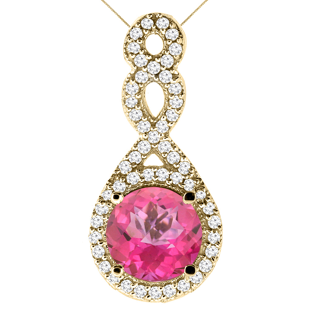 10K Yellow Gold Natural Pink Topaz Eternity Pendant Round 7x7mm with 18 inch Gold Chain