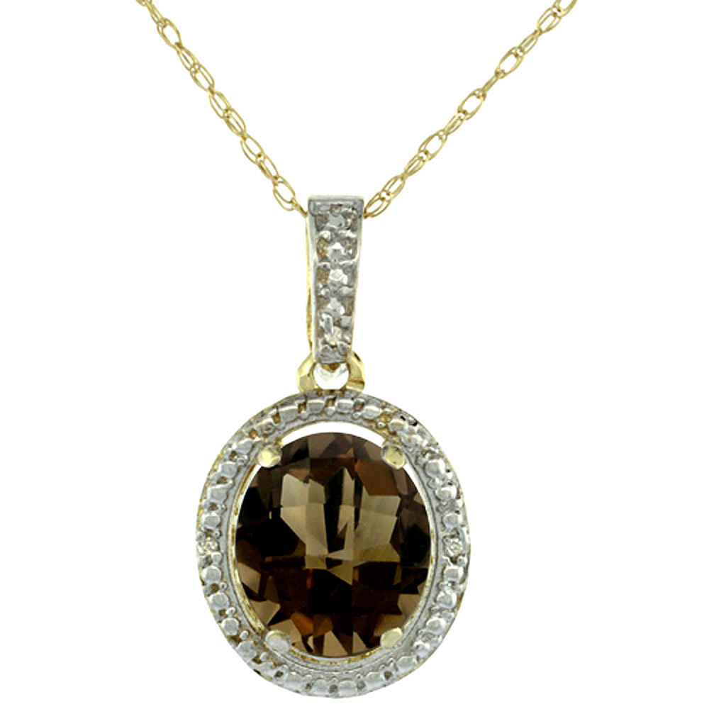 10K Yellow Gold Diamond Natural Smoky Topaz Pendant Oval 10x8 mm