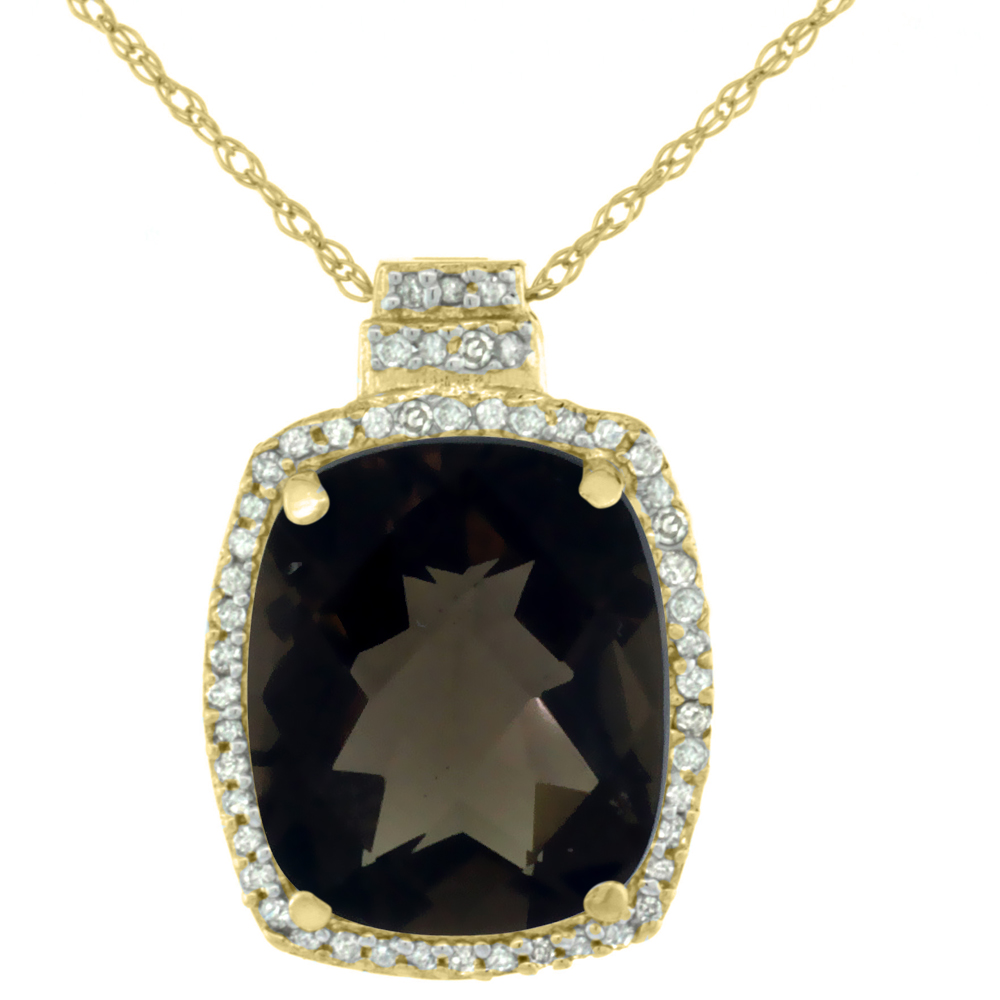 10K Yellow Gold 0.20 cttw Diamond Natural Smoky Topaz Pendant Octagon Cushion 11x9 mm